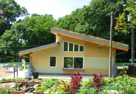 Straw bale built teaching kitchen - located in High Park, Toronto