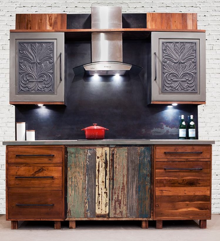 reclaimed and distressed wood kitchen cabinets