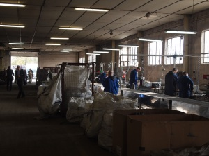 A view inside the sorting department of the recycling center